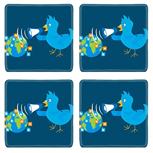(MSD Square Coasters Non-Slip Natural Rubber Desk Coasters design 30402026 Blue bird is shouting through a megaphone on the planet)