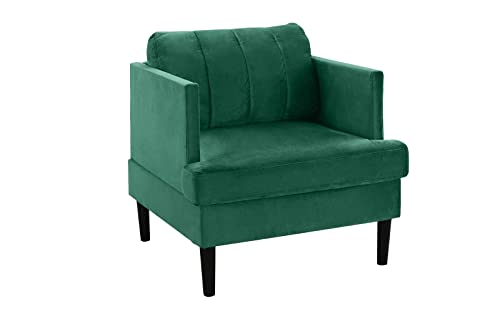 Mid Century Modern Velvet Armchair, Living Room Accent Chair Green