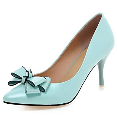 143782b6617 COOLCEPT Women Fashion Kitten Heels Pumps Pointed Toe Sweet Dress Thin High Heel  Shoes with Bow