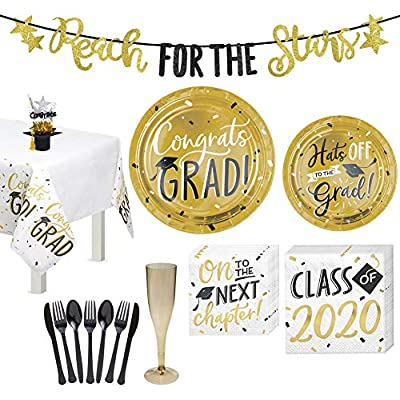 Party City 2020 Graduation Decoration and Tableware Kit for 8 Guests, Party Supplies, Includes Centerpiece and Banner: Kitchen & Dining