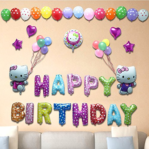 Happy Birthday Hello Kitty - Hello Kitty A Happy birthday foil balloon decoration, celebration party decoration (Kate-A)