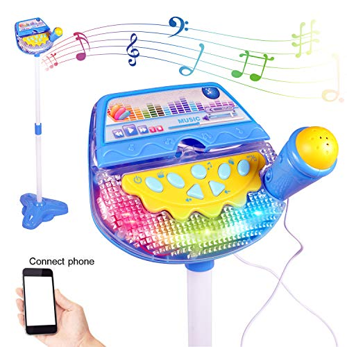 Liberty Imports Rock Star Kids Karaoke Machine Sing Along Multifunctional Stand Up Microphone Toy Play Set with Built in MP3, Speaker, Adjustable Height -