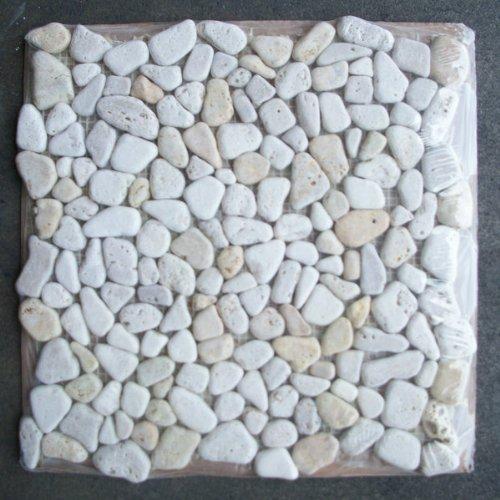 Travertine Mix Giallo River Rocks Pebble Stone Mosaic Tile (Mosaic And Stone)