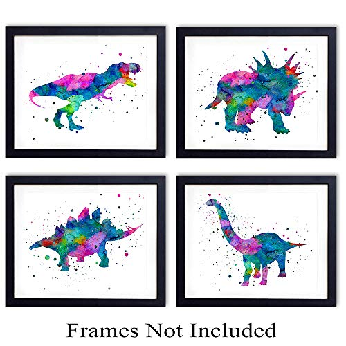 Dinosaur Watercolor Wall Art Print - Set of Four (8x10) Unframed Photos - Perfect Gift for Boys and Kids Rooms, Nursery - Chic Home Decor -