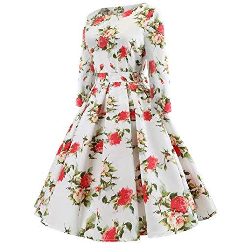 Vintage Rtro de Robe Manches Fleur de Hepburn Soire Imprimer Bringbring Cocktail Robes 4 Automne Rouge 3 Femme BxtBgnAwq