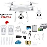 DJI Phantom 4 PRO V2.0 Quadcopter Drone with 1-inch 20MP 4K Camera KIT, 2 Total DJI Batteries + 64 GB Micro SD Card + Reader 3.0 + Snap on Prop Guards + Range Extender + Charging Hub