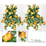 """29"""" Artificial Hibiscus Hanging Flower Bushes, with No Pot, (Pack of 2)"""