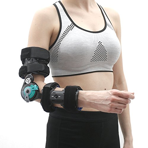 Soles Hinged Elbow Brace (Right Arm) - Support Post Op Injury Recovery, Rom Orthosis - Adjustable Range of Motion - One Size Fits All - Unisex by Soles