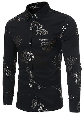 0d8f5bbabab0c4 SHOWNO Men's Floral Slim Fit No Iron Long Sleeve Lapel Button Down Blouse  Shirts Black S