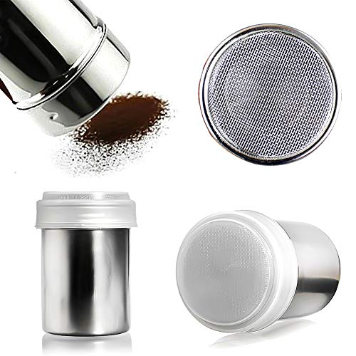 HansGo Seasoning Cans, 2PCS Stainless Steel Versatile Dredge Shaker Spice Salt Sugar Pepper Shaker with Rotating Cover for Kitchen Cooking and Outdoor Barbecue