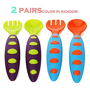Popular Baby Feeding Spoons Infant Weaning Spoons Baby Training Spoon Teether, BPA Free Plastic Spoons for Baby Feed(2 pairs)