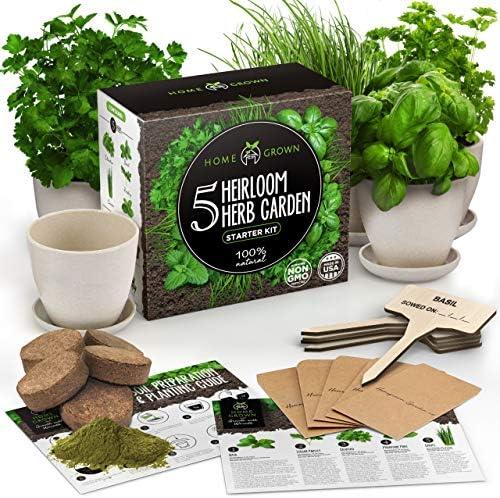 Indoor Herb Garden Starter Kit - Herb Seeds Gardening Kit Planting Pots & Potting Soil - Heirloom & Non GMO - DIY Home Seed Starter Grow Plant Kit (Bamboo Pots)