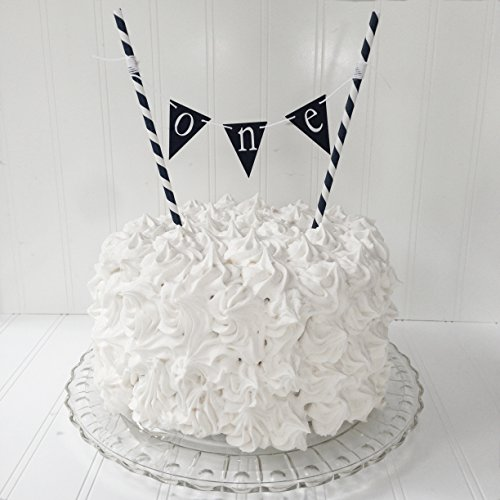 Birthday Cake Topper, One Birthday Banner, Hello Sailor, Navy Blue Banner by Piece of Cake Parties