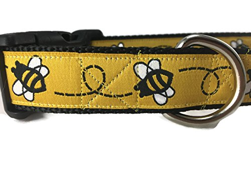 CANINEDESIGN QUALITY DOG COLLARS Bumblebee Dog Collar, Caninedesign, yellow, 1 inch wide, adjustable, nylon, medium and large, (Large 15-22)]()