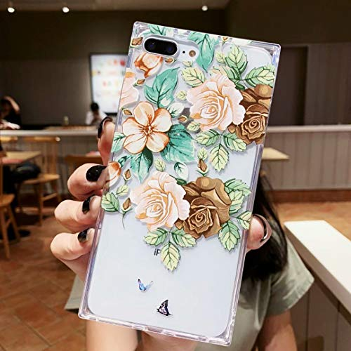 iPhone 7 Plus Case for Girls, Tzomsze iPhone 8Plus Case Square Clear Case Floral Flower Cute Case Reinforced Corners TPU Cushion, Soft Colorful Rose Floral Pattern Design Cute Slim TPU Silicone Cover