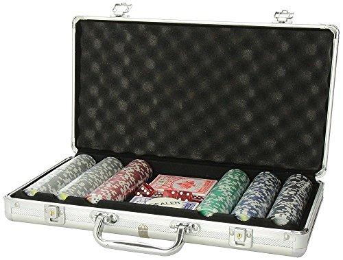 300 Clay Poker Chip Set Aluminum Case Professional Texas Hold'em Cards Dice (Aluminum Case Chip 300)