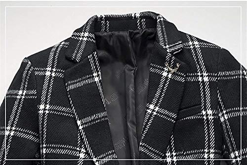 Manteau De Manches Coupe Breasted Vêtements Longues Homme vent Unique Casua Moderne Revers Trench Blazer Blackwhite À Dessus Carreaux Coat Parka FSRdpq