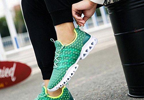 Hombres Pareja Primavera Casual Deportivo Hombres Zapatos Moda Breathable Malla Tela Pies Zapatos Casual Zapatos de baloncesto Zapatos de baloncesto Green