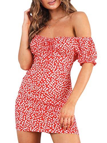BerryGo Women's Vintage Off Shoulder Backless Floral Print Beach Mini Dress Red 3-L