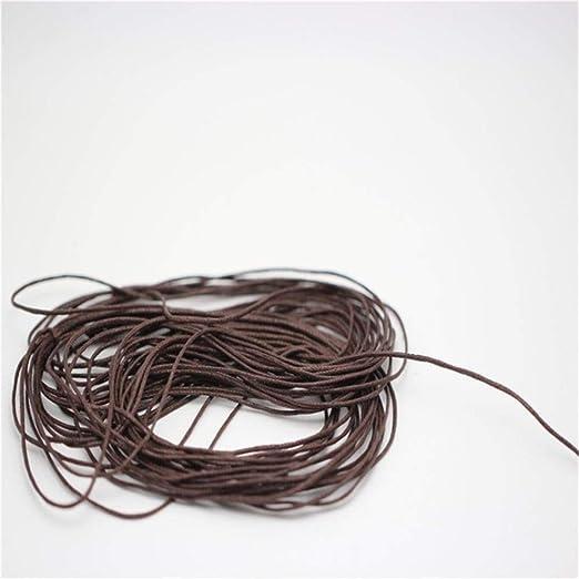 LLAAIT Hot 10M 1mm Cuerda de Cable de algodón Encerado Hilo de Lino Cadena de Alambre DIY Rebordear Hacer Pulsera y Collar Línea de Cuerda de joyería Cuentas de cordón, marrón: Amazon.es: