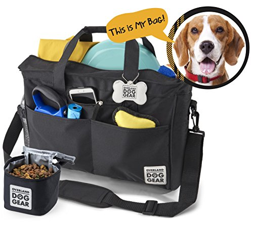 Dog Travel Bag - Day Away Tote For All Size Dogs - Includes Bag, Lined Food Carrier, And Luggage Tag (Black)