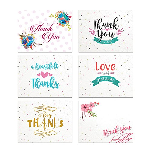 Fancy Dots Thank You Card Assortment Pack - Set of 36 cards blank inside - 6 designs blank inside - with white envelopes
