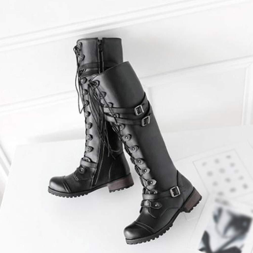11a9fa0165660 Amazon.com: Gyoume Retro Punk Buckle Boots Women Military Combat ...
