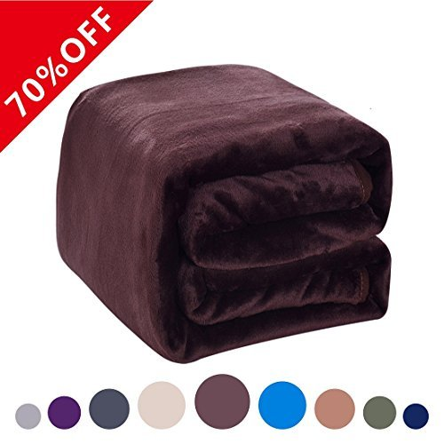 Fleece Blanket 380 GSM Anti-static Super Soft Lightweight Warm Fuzzy Bed Blanket,Couch Blanket by Dream Fly Life Chocolate