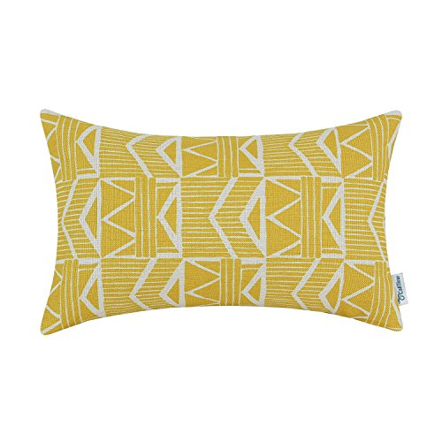 CaliTime Canvas Bolster Pillow Cover Case for Couch Sofa Hom