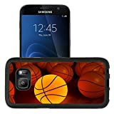 Luxlady Premium Samsung Galaxy S7 Aluminum Backplate Bumper Snap Case IMAGE ID 1194874 basketball glow game ball over the hardwood floor 3D