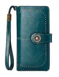 Clutch wallet,Long Ladies Wallet Purse Genuine Leather Removable Wristlet Purse