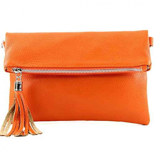 Italian leather bag Clutch shoulder bag underarm bag shoulder bag small nappa leather Wild leather/croco T54 Orange