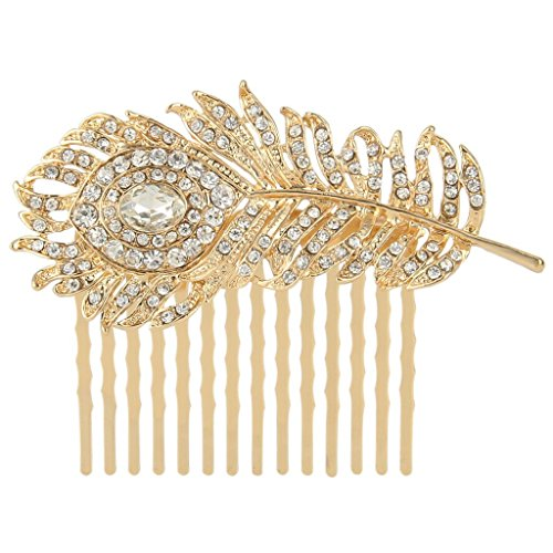 EVER FAITH Gold-Tone Austrian Crystal Wedding Peacock Feather Hair Side Comb Clear