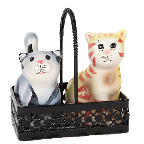 (Herrschners® Cat Salt and Pepper Shaker Set in Wire Basket Gift)
