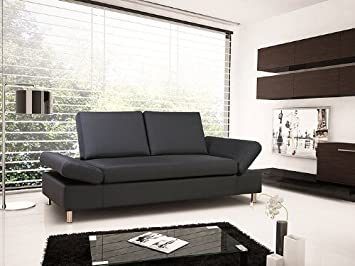 Schlafsofa Brindisi 210x90cm, Kunstleder Mocca, Schlafcouch Couch Liege Sofa