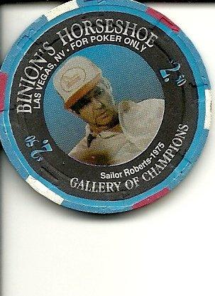 $2.50 binion's horseshoe sailor roberts-1975 1994 silver anniversary gallery of champions poker las vegas casino chip