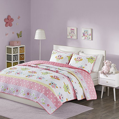 Comfort Spaces - Owl Pattern Kids Bedspread Mini Quilt Set - 2 Piece - Pink White - Teens/Girls - Owl Print - Twin Size, includes 1 Quilt, 1 Sham