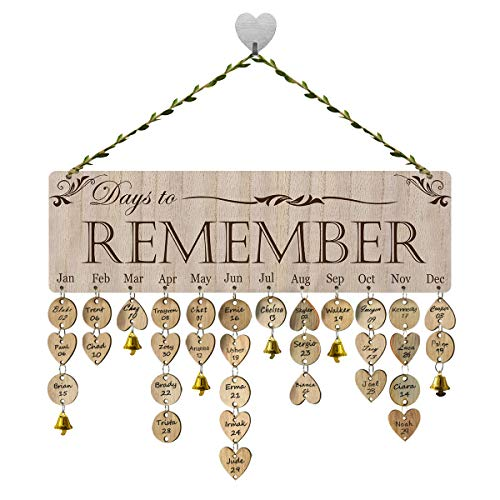 FamGift Gifts for Moms Dads- Family Birthday Reminder Calendar /100 Wood Discs/100 Jump Rings/12 flowers/12 Bells/Decorative Birthday Tracker Plaque Wall - Wall Hanging Plaque