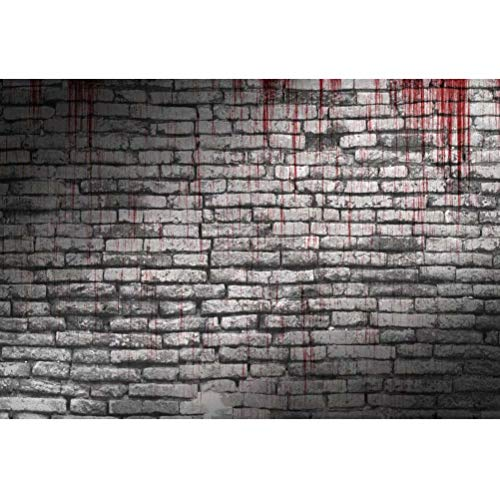 OFILA Blood Brick Wall Background 7x5ft Polyester Fabric Halloween Photos Backdrop Halloween Party Decoration Halloween Costume Party Halloween Photo Booth Digital Studio Props -