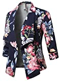 Awesome21 Stretch 3/4 Gathered Sleeve Open Blazer Jacket Navy Pink Size M