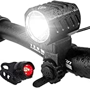 Bike Light, USB Rechargeable Bicycle Lights, Led Bike Lights Front and Back Set, Water-Resistant,1200 Lumens H