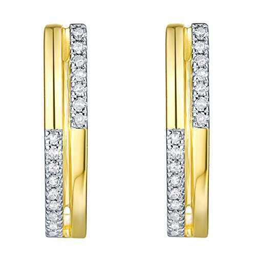 (Prism Jewel 0.11 Carat G-H/I1 Natural White Diamond Hinged With Notched Post Circle Earrings, 10k Yellow Gold )