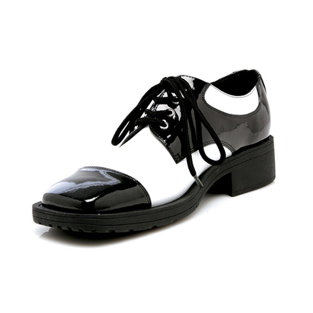 1 Inch Heel Ganster Two Tone Black and White Oxford Shoe Mens Sizes