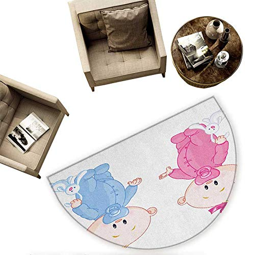 Gender Reveal Semicircular Cushion Cheerful Boy and Girl Children with Bunny Pacifiers Twins Entry Door Mat H 55.1'' xD 82.6'' Pale Blue and Pink Peach