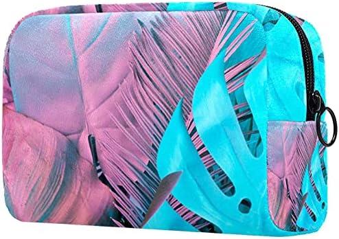 Vrouwen makeup tasCosmetische opbergtas tropisch blauw roze bladeren plant voor reizenCosmetica Organizer
