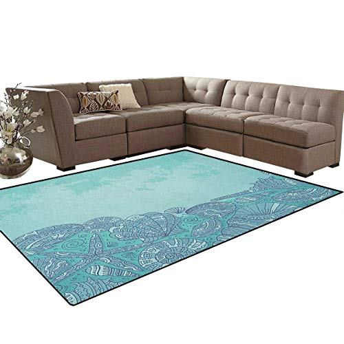 Nautical,Floor Mat,Marine Beauty Shell with Seahorse Starfish Oysters Ocean Sea Tropical Image,Living Dining Room Bedroom Hallway Office Carpet,Turquoise Teal Size:6'x9'