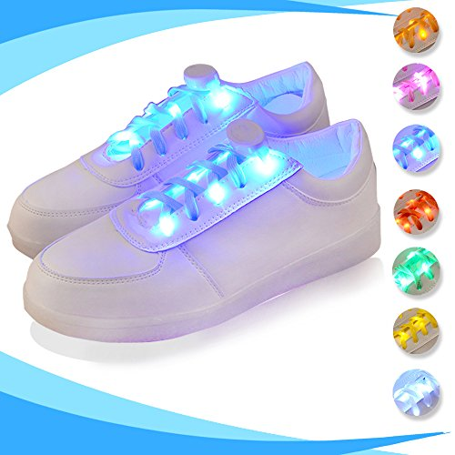 LED Light Up Shoelaces, 2win2buy 2 Pairs Luminous LED Shoe Laces, Nylon Glow Shoes Laces & Three Flashing Modes Cool Safety Accessories for Dancing