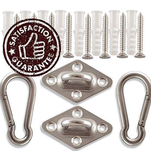 Amerigo Premium Hammock Hooks Best Hanging Kit for Your Relaxation – Heavy Duty – Set of 2 Pad Plates, Spring Snap Hooks, 8 Anchors and Lag Screws Made of Stainless Steel for Perfect Experience