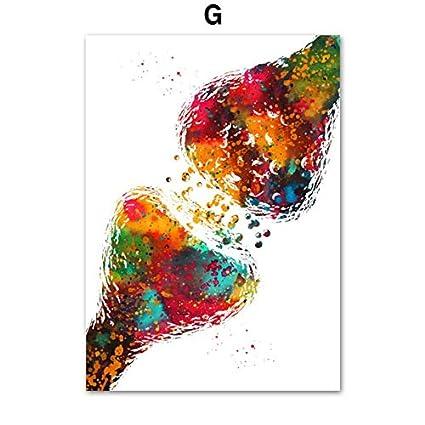 Arte de la anatom/ía Coraz/ón humano Pulmones del cerebro Arte de la pared Pintura de la lona Carteles e impresiones n/órdicos Cuadros de la pared para la decoraci/ón de la oficina del doctor X 7pcs