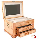 Red Star VIENNA Burl Wood Jewelry Box